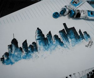 blue, city, and drawing image
