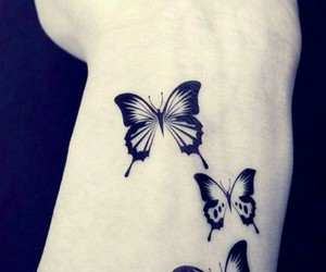 butterfly, tattoo, and black image