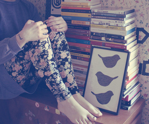 book, girl, and bird image