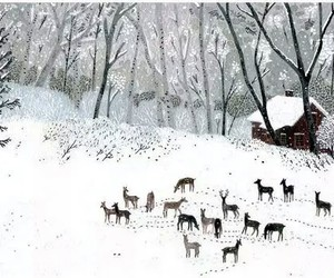 art, snow, and deer image