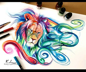 colors, lion, and art image