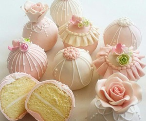 cake, delicious, and pink image