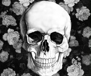 skull, wallpaper, and flowers image