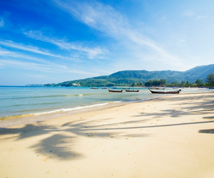 beach, boats, and thailand image