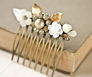 bridal, comb, and flowers image