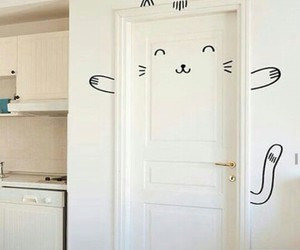 cats, gatito, and door image