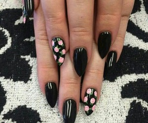 nails, black, and rose image