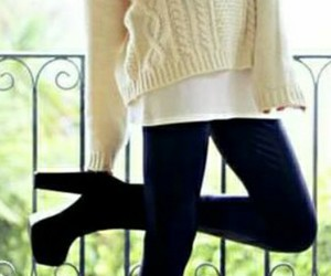 shoes, outfit, and sweater image