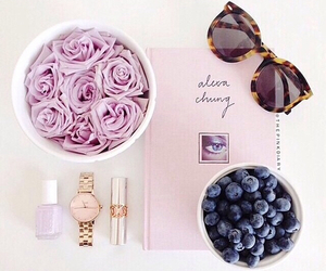 rose, pink, and sunglasses image