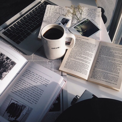 Coffee laptop books shared by lala_p on We Heart It