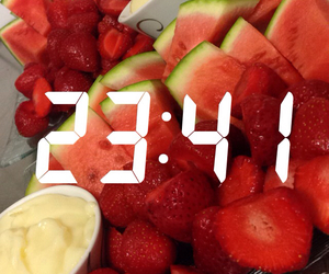 clock, fruit, and snapchat image