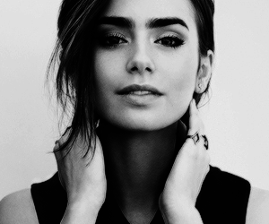 actress, black and white, and lily collins image