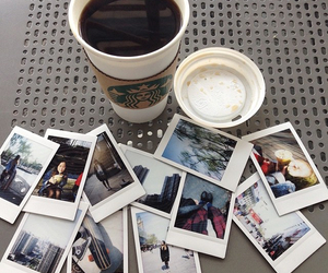 coffee, starbucks, and polaroid image