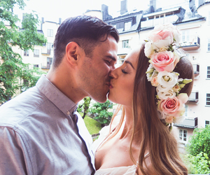 flowers, kiss, and couple image