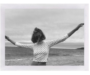 girl, b&w, and beach image