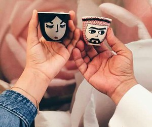 cup, arab, and couple image