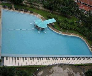 piano, pool, and summer image