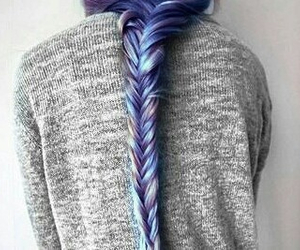 blue, braid, and fishtail image