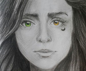 drawing, gold, and green image