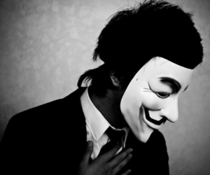 black and white, boy, and mask image