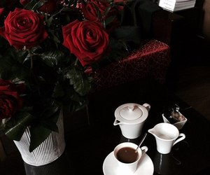 rose, beautiful, and coffee image