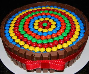 cake, m&m's, and colors image