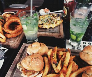 food, drink, and burger image