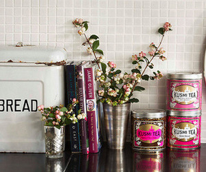 kitchen, bread, and flowers image