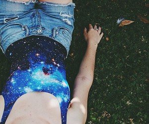 bodysuit, galaxy, and fashion image