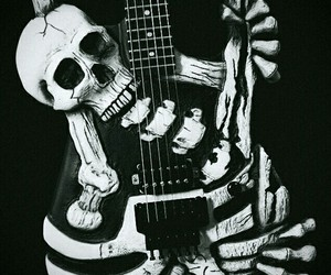 artistic, black and white, and skull guitat image