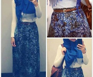 hijab, style, and blue image