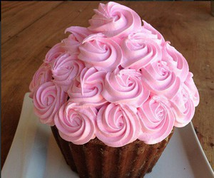 cupcake, pink, and roses image