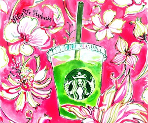 pink, lilly pulitzer, and starbucks image