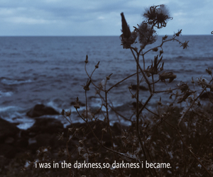 Darkness, sea, and quote image