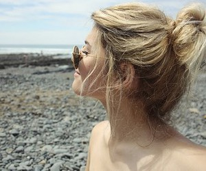 blonde, girl, and sea image