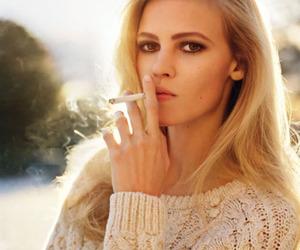 Lara Stone, model, and cigarette image