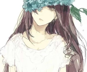 girl, anime, and flowers image