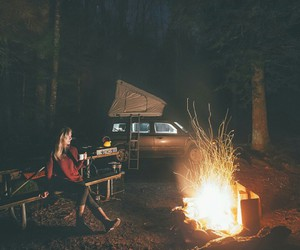 car, fire, and forest image