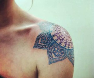 tattoo, mandala, and shoulder image