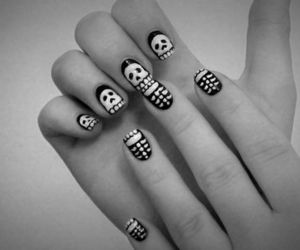 nails, skull, and black image