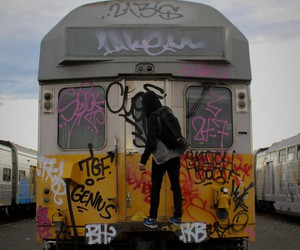 train and graffiti image