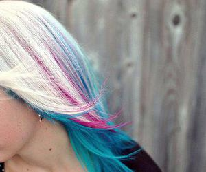 blue hair, hair, and pink hair image