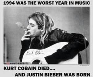 kurt cobain, justin bieber, and music image