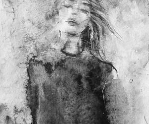 art, charcoal, and girl image