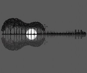guitar, trees, and moon image