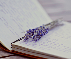 notebook, book, and flowers image