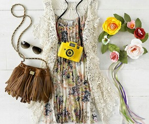 outfit, dress, and flowers image