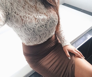 bombshell, brown dress, and lace image