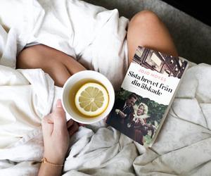 book, tea, and lemon image