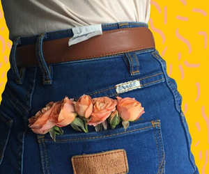 flowers, jeans, and roses image